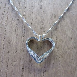 Jewelry - Vintage 925 Sterling Silver Heart Necklace
